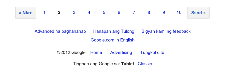 screenshot of google search in tagalog