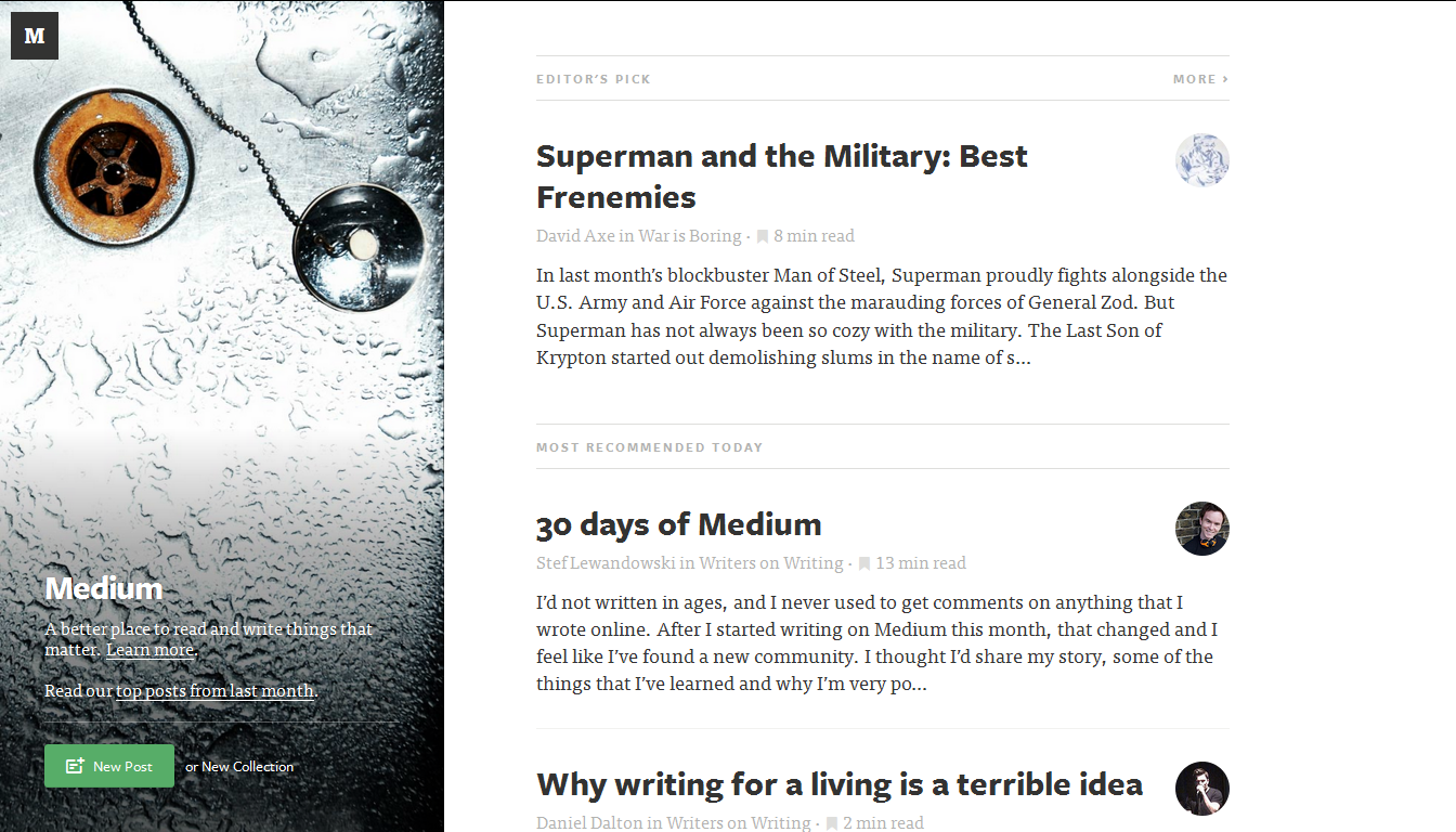 Screenshot of Medium's recommended articles for July 5, 2013.
